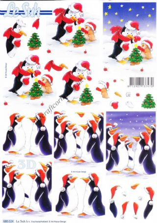 Christmas Penguins Die Cut 3d Decoupage Sheet